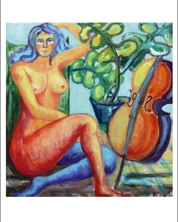 Birgit Sewekow - Akt mit Cello